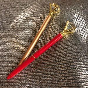 2 pc set red & copper diamond crystal Pen Gem